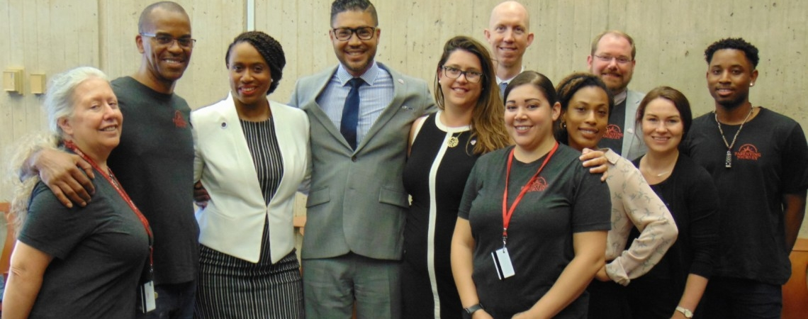 Ayanna Pressley and the Parenting Journey team at Boston City Hall after the city council endorsed our Parents' Bill of Rights