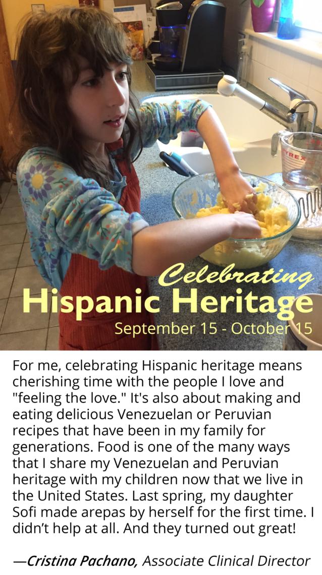 Cristina Pachano's daughter makes arepas