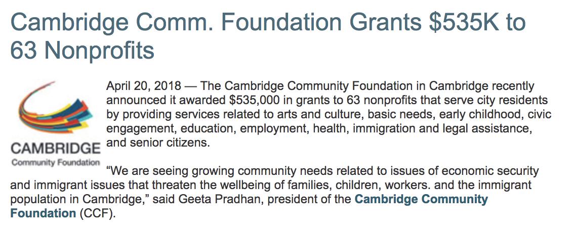 PRESS - Cambridge Comm  Foundation Grants $535K to 63