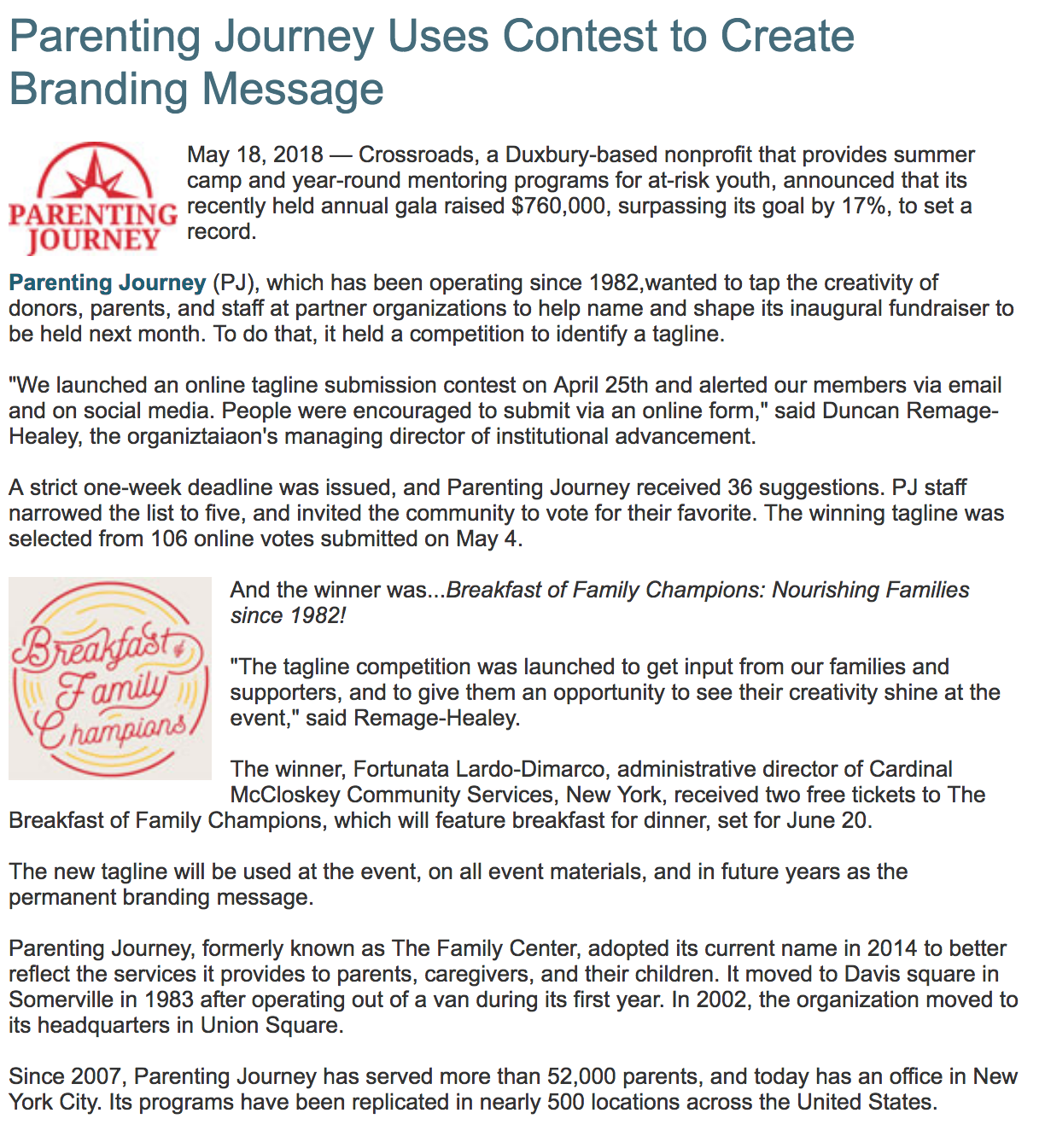 PRESS - Parenting Journey Uses Contest to Create Branding