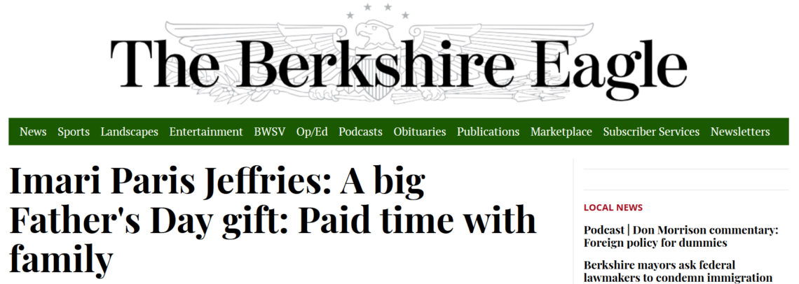 Berkshire Eagle Masthead and Headline of Imari's Op-Ed