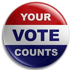 "Red, white, and blue button reading ""Your Vote Counts"""