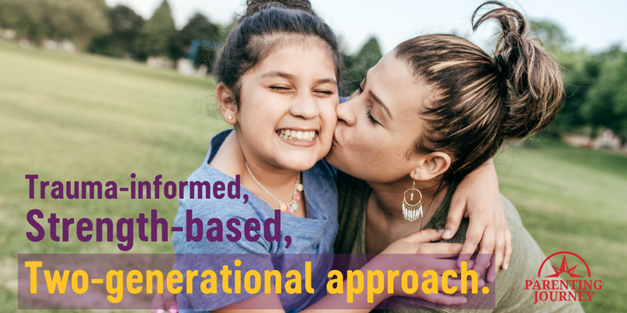 "Image of mother and child with overlayed the Parenting Journey logo and the following text: ""Trauma-informed, strength-based, two-generational approach."""